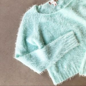 DECREE Mint Aqua Fuzzy Soft Cropped Sweater